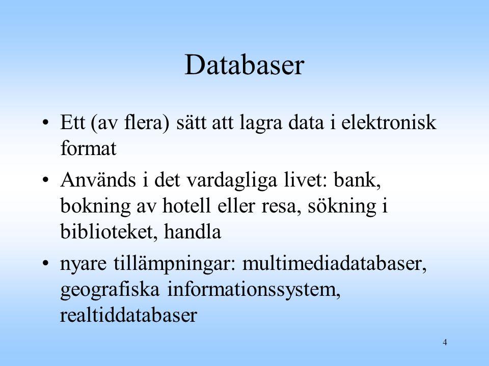 Databaser Ett (av flera) sätt att lagra data i elektronisk format