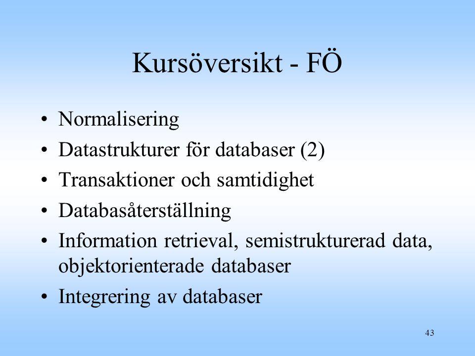 Kursöversikt - FÖ Normalisering Datastrukturer för databaser (2)