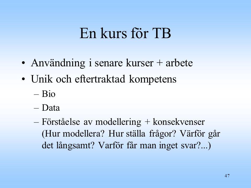 En kurs för TB Användning i senare kurser + arbete
