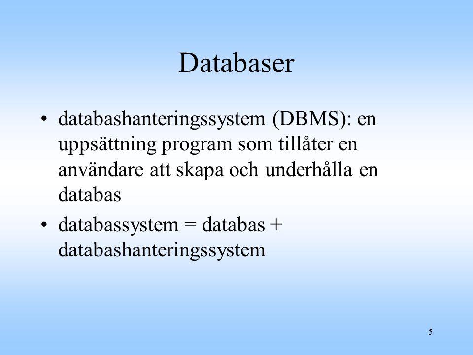 2001-10-01 Databaser. databashanteringssystem (DBMS): en uppsättning program som tillåter en användare att skapa och underhålla en databas.