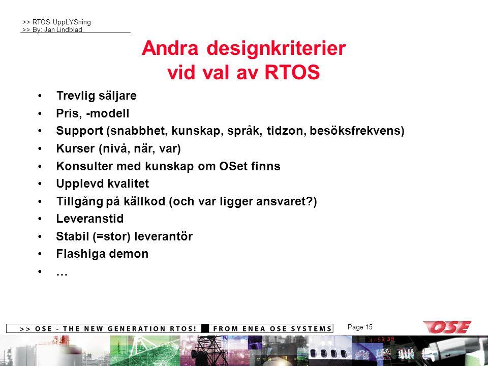 Andra designkriterier vid val av RTOS