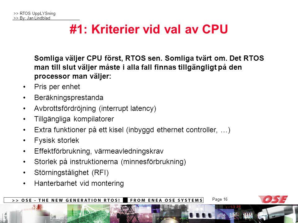 #1: Kriterier vid val av CPU