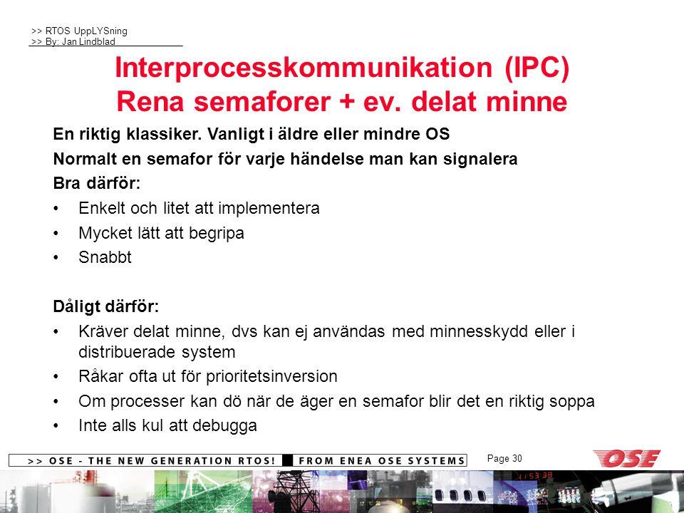 Interprocesskommunikation (IPC) Rena semaforer + ev. delat minne
