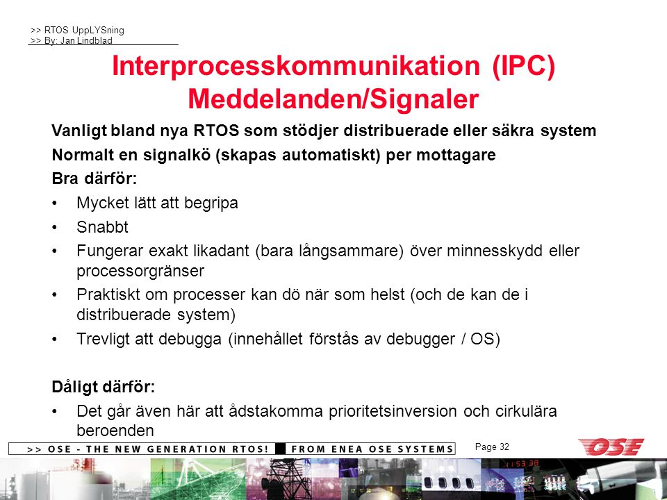Interprocesskommunikation (IPC) Meddelanden/Signaler