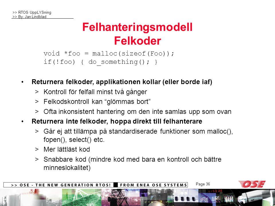 Felhanteringsmodell Felkoder