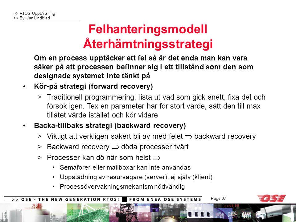 Felhanteringsmodell Återhämtningsstrategi