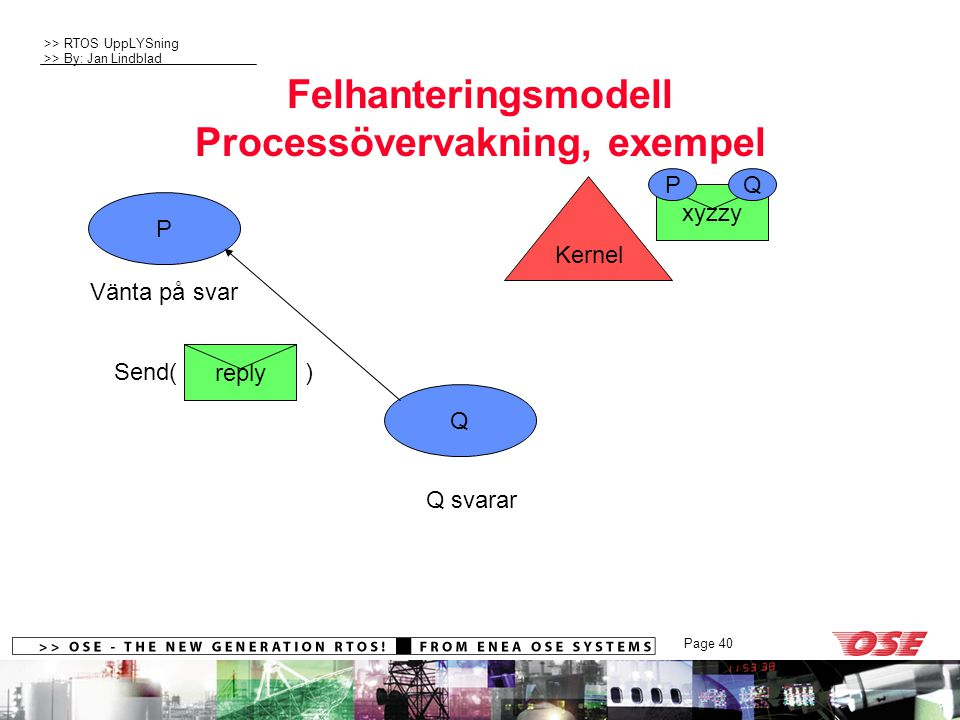 Felhanteringsmodell Processövervakning, exempel
