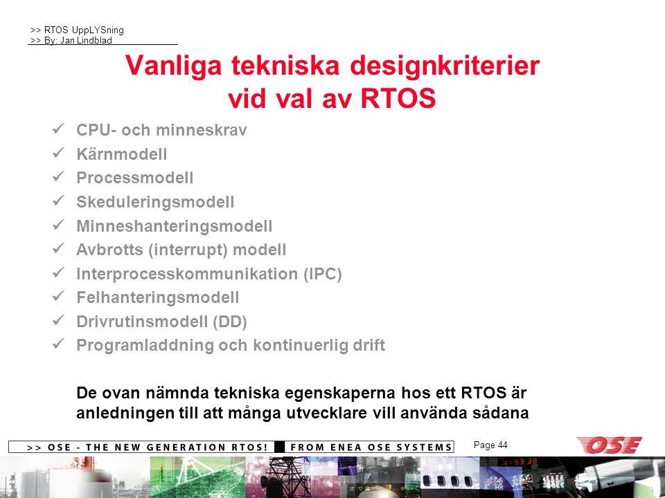 Vanliga tekniska designkriterier vid val av RTOS