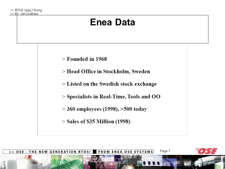 Company Profile Enea Data Founded in 1968