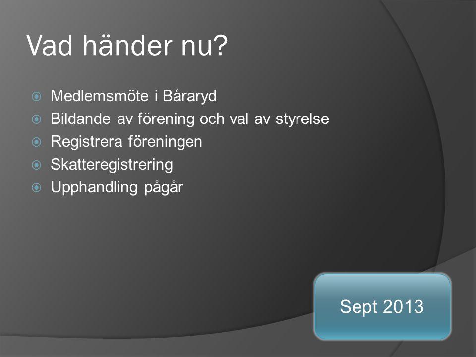 Vad händer nu Sept 2013 Medlemsmöte i Båraryd