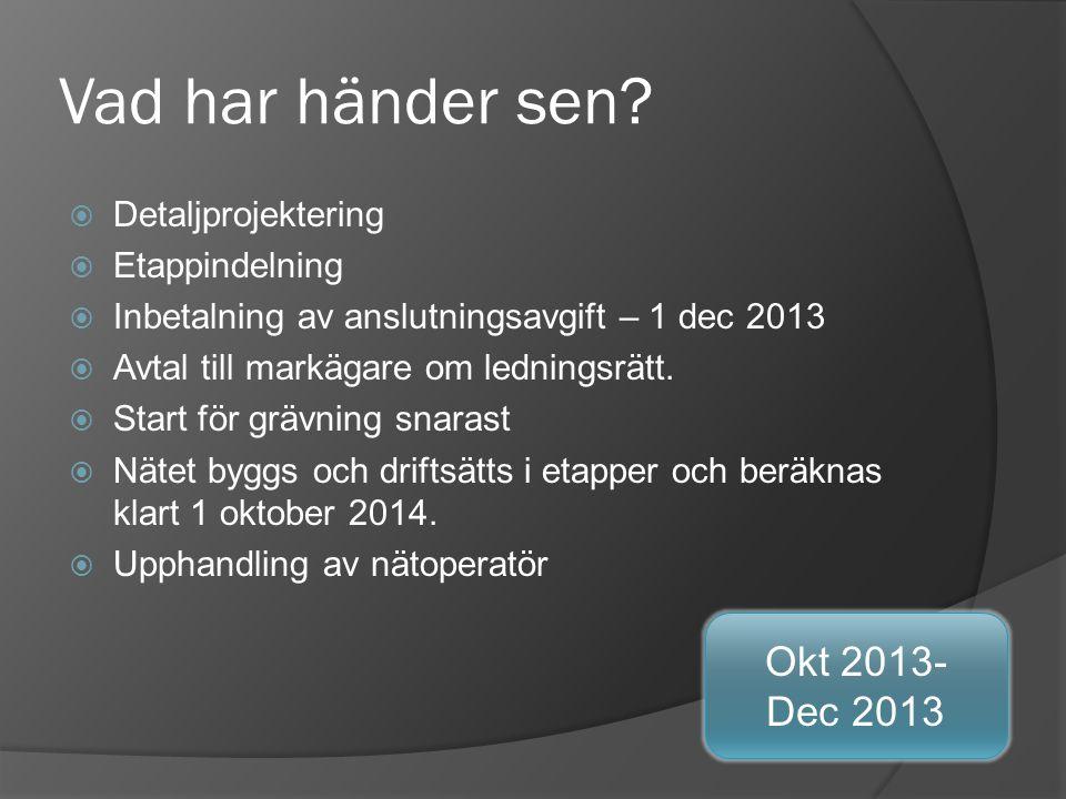 Vad har händer sen Okt 2013- Dec 2013 Detaljprojektering