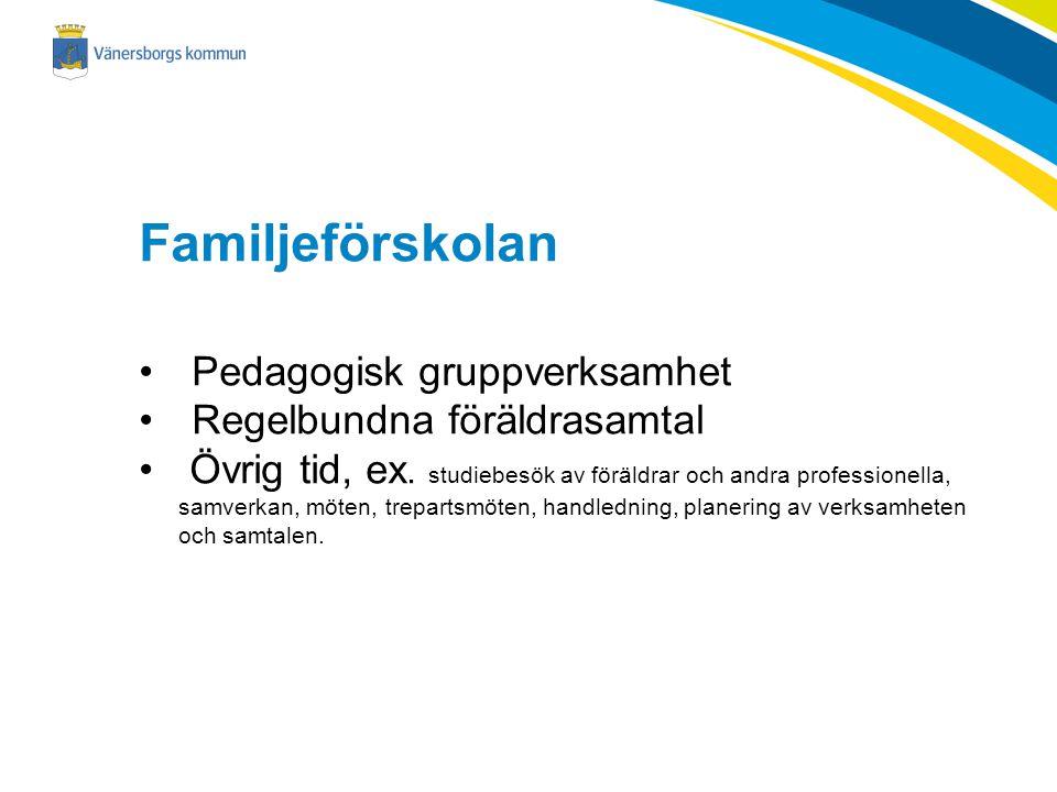 Familjeförskolan Pedagogisk gruppverksamhet Regelbundna föräldrasamtal
