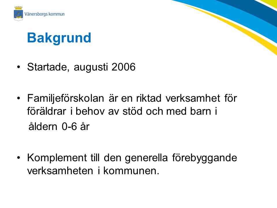 Bakgrund Startade, augusti 2006