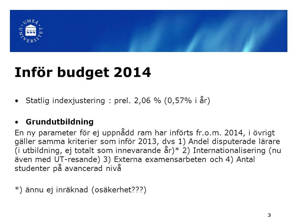 Inför budget 2014 Statlig indexjustering : prel. 2,06 % (0,57% i år)