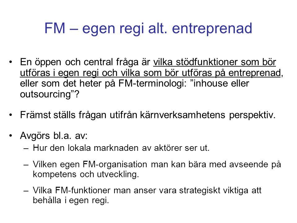 FM – egen regi alt. entreprenad