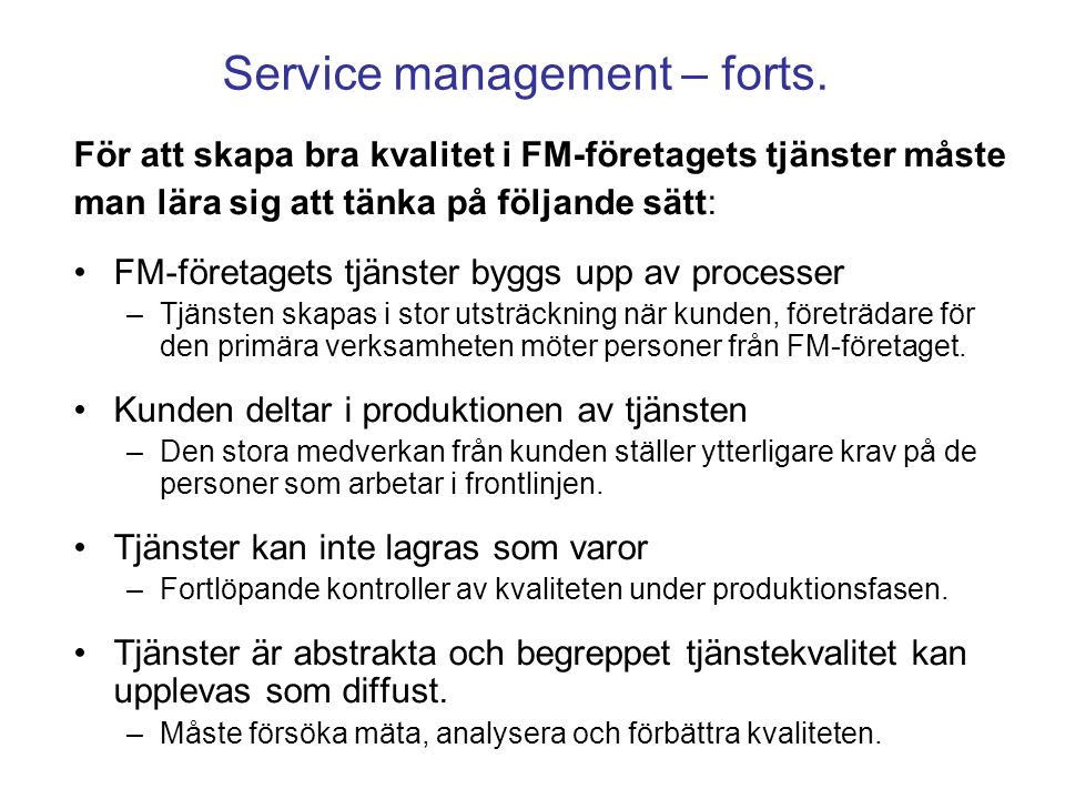 Service management – forts.