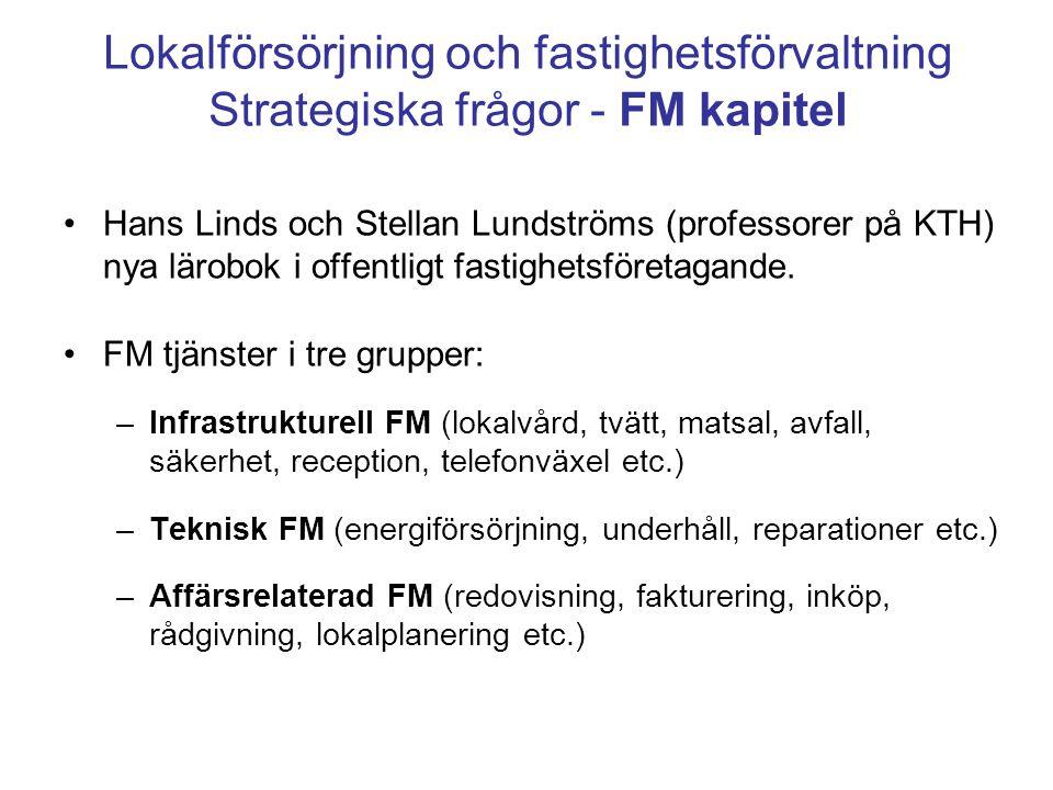 Lokalförsörjning och fastighetsförvaltning Strategiska frågor - FM kapitel