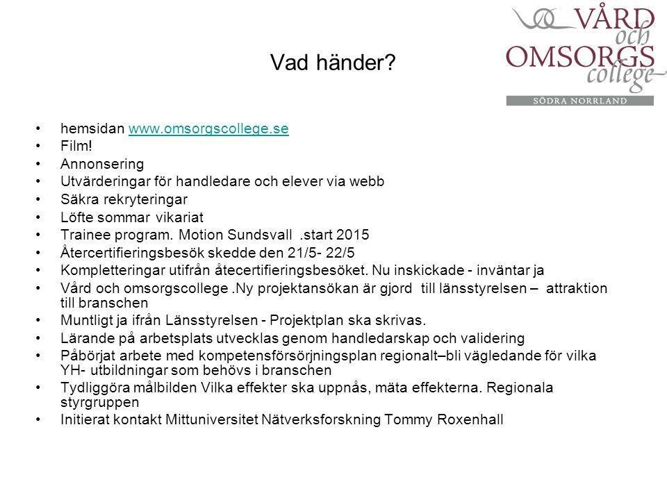 Vad händer hemsidan www.omsorgscollege.se Film! Annonsering