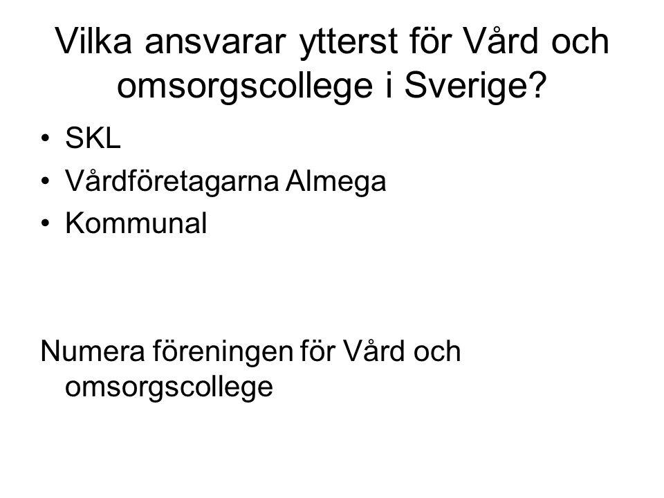 Vilka ansvarar ytterst för Vård och omsorgscollege i Sverige