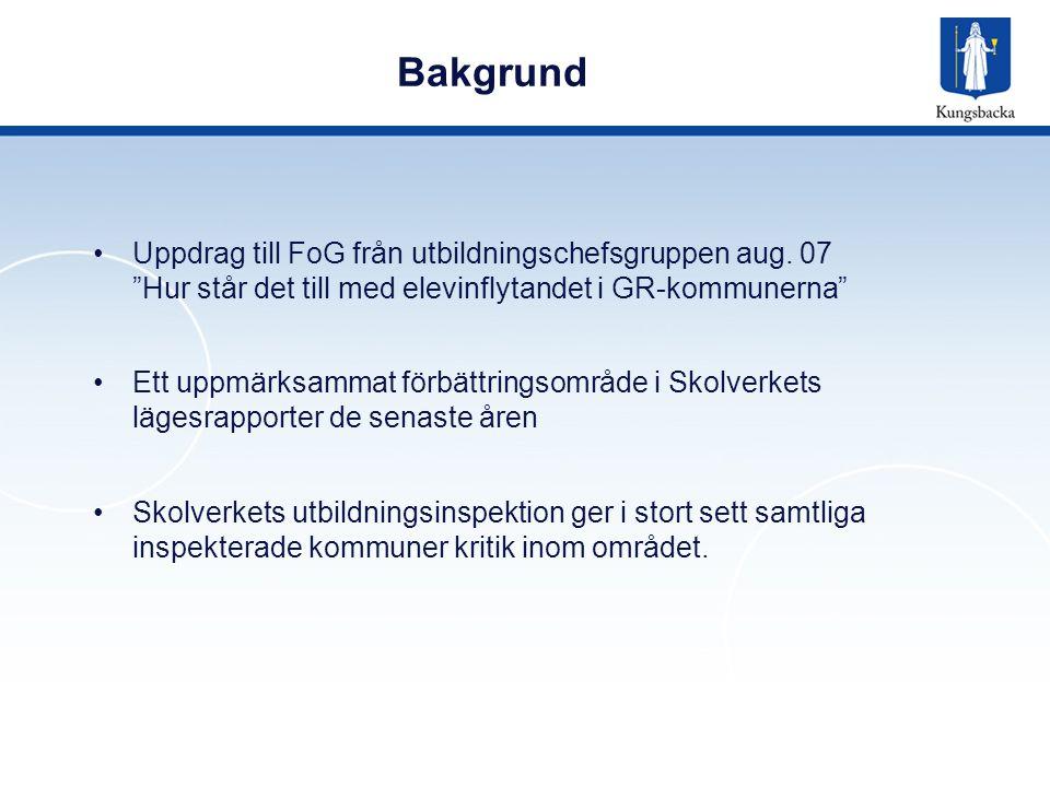 Bakgrund Uppdrag till FoG från utbildningschefsgruppen aug. 07 Hur står det till med elevinflytandet i GR-kommunerna
