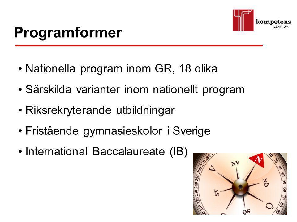 Programformer Nationella program inom GR, 18 olika