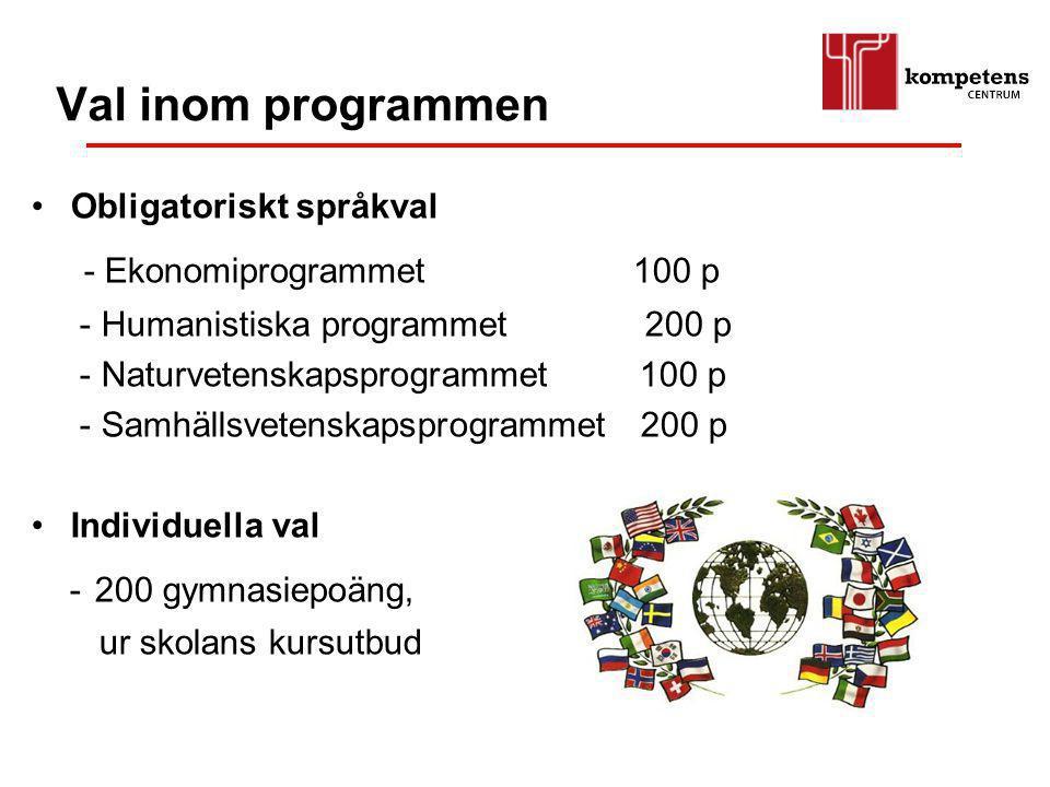 Val inom programmen - Ekonomiprogrammet 100 p Obligatoriskt språkval