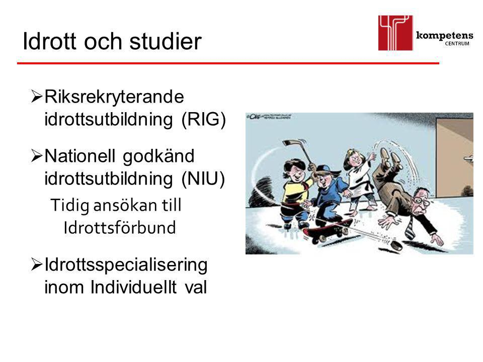 Idrott och studier Riksrekryterande idrottsutbildning (RIG)