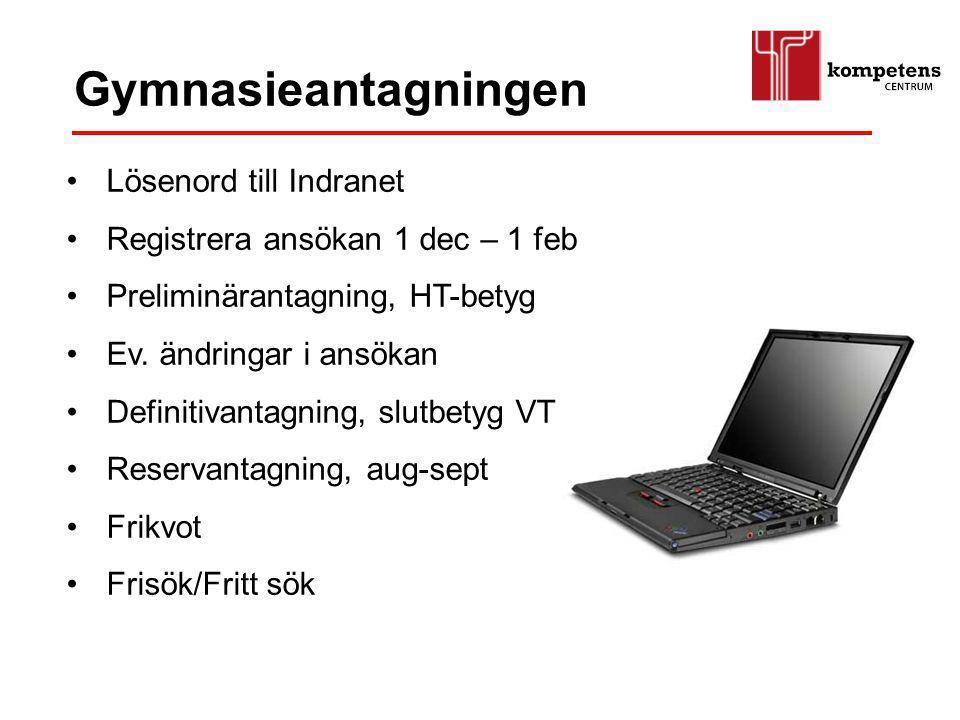 Gymnasieantagningen Lösenord till Indranet