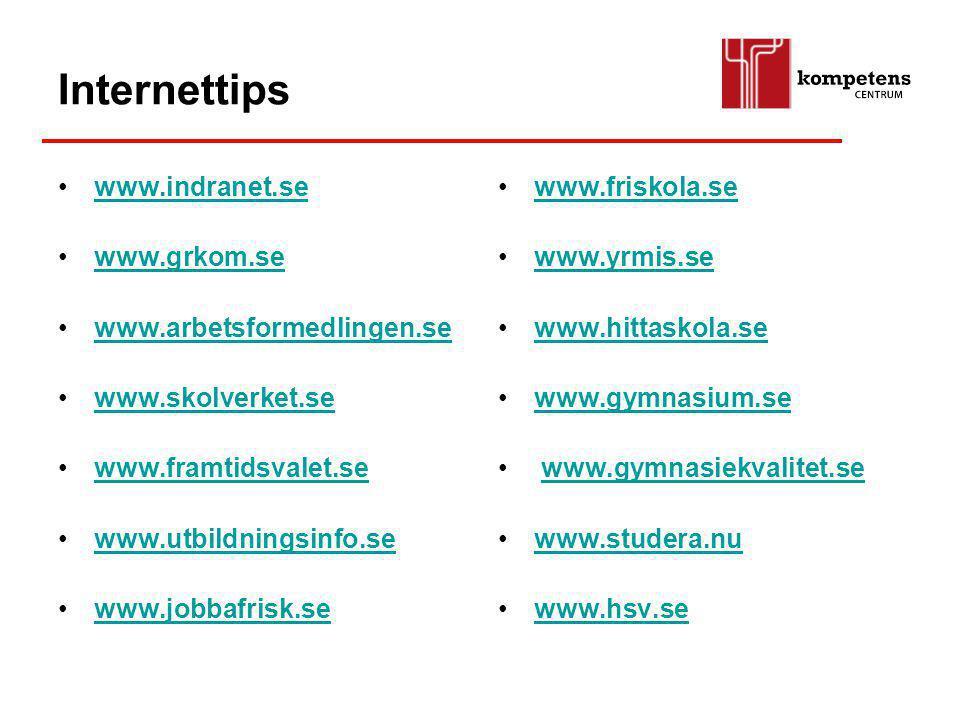 Internettips www.indranet.se www.grkom.se www.arbetsformedlingen.se