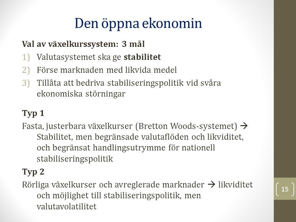 Den öppna ekonomin Val av växelkurssystem: 3 mål
