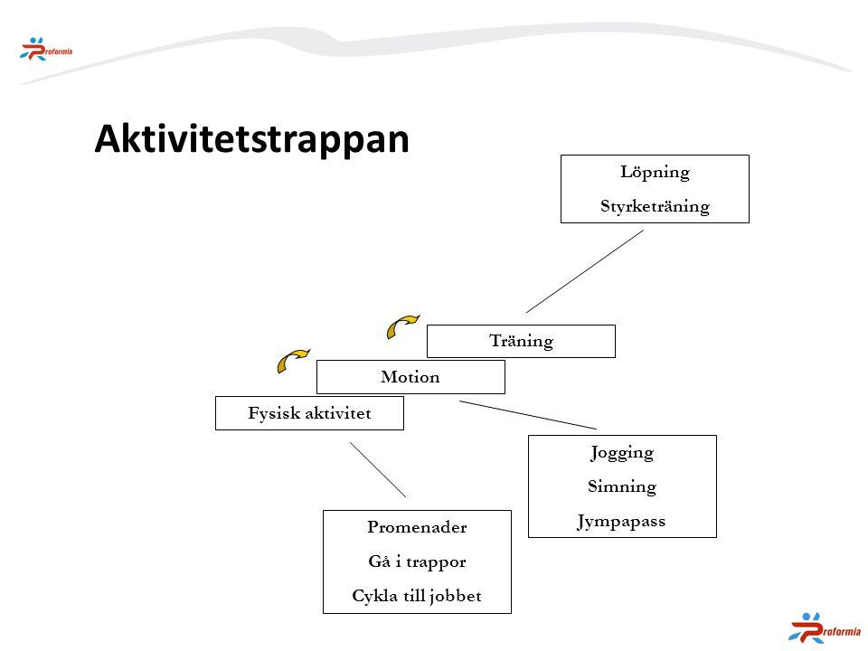 Aktivitetstrappan Löpning Styrketräning Träning Motion