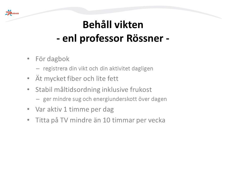 Behåll vikten - enl professor Rössner -