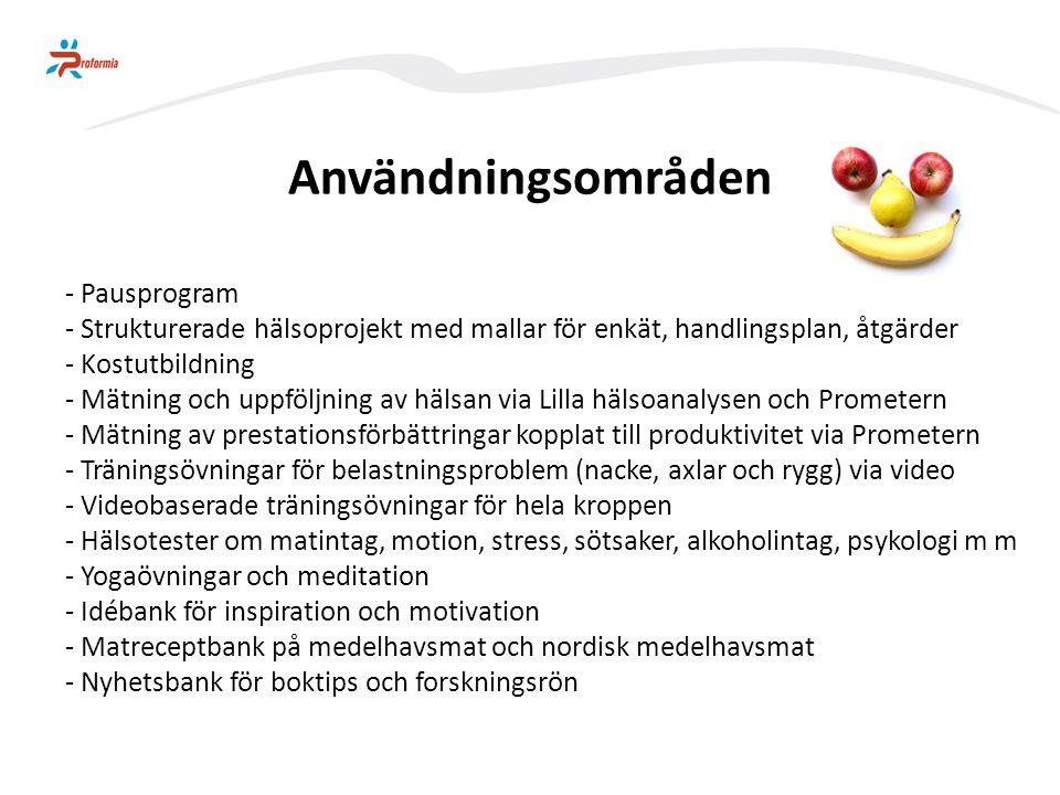 Användningsområden - Pausprogram