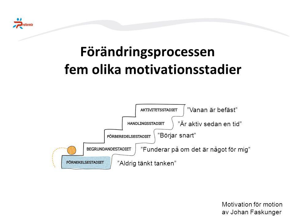 Förändringsprocessen fem olika motivationsstadier
