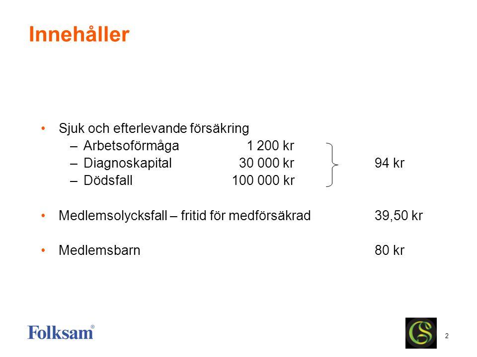 Innehåller Sjuk och efterlevande försäkring Arbetsoförmåga 1 200 kr