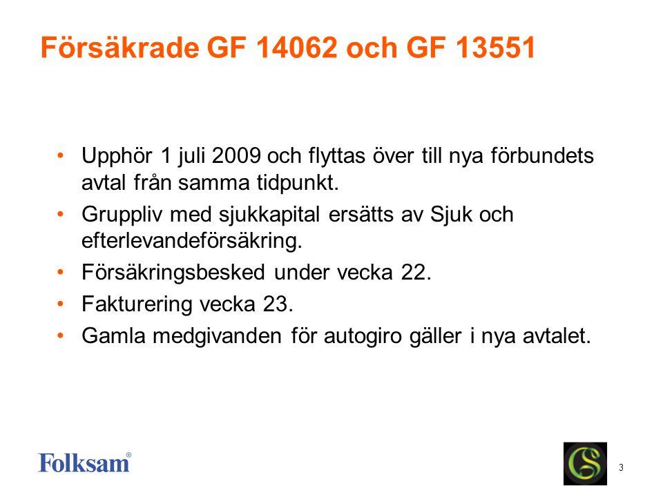 Försäkrade GF 14062 och GF 13551 Upphör 1 juli 2009 och flyttas över till nya förbundets avtal från samma tidpunkt.