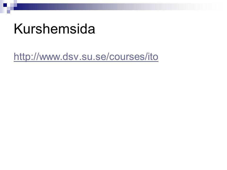 Kurshemsida http://www.dsv.su.se/courses/ito För distansstudenter!