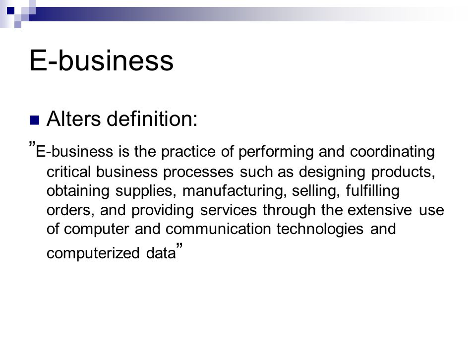 E-business Alters definition: