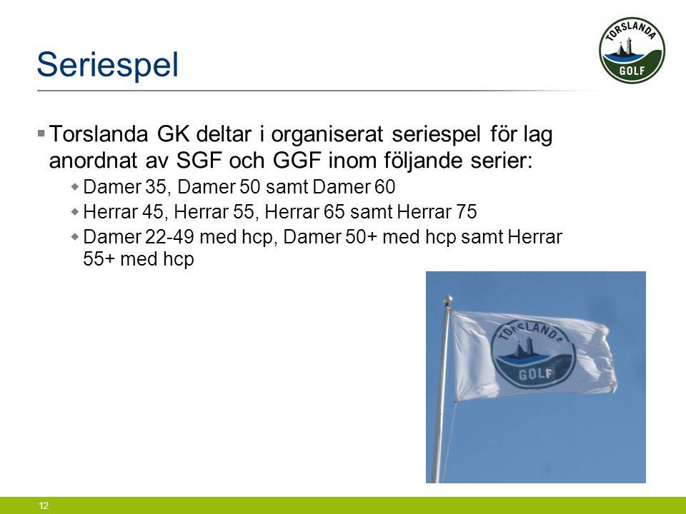 Seriespel Torslanda GK deltar i organiserat seriespel för lag anordnat av SGF och GGF inom följande serier: