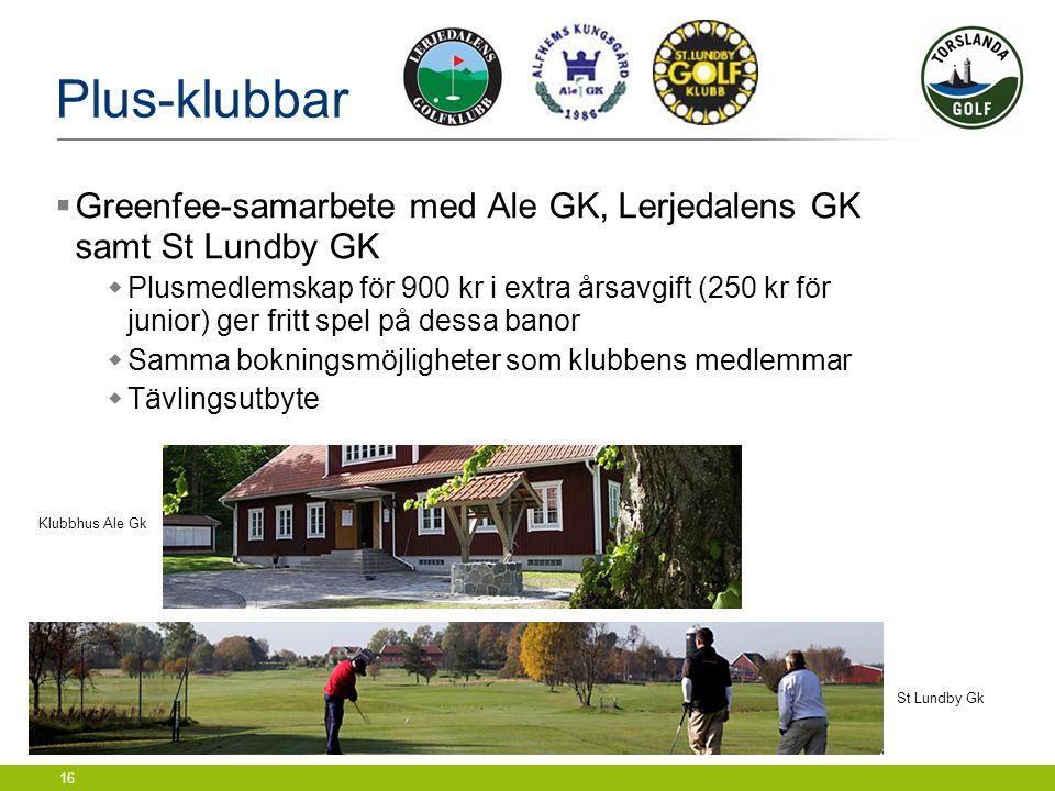 Plus-klubbar Greenfee-samarbete med Ale GK, Lerjedalens GK samt St Lundby GK.