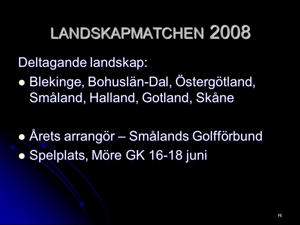 LANDSKAPMATCHEN 2008 Deltagande landskap: