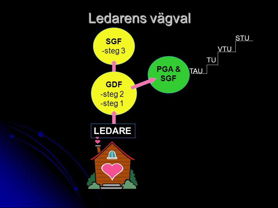 Ledarens vägval GDF LEDARE SGF -steg 3 PGA & SGF -steg 2 -steg 1 STU