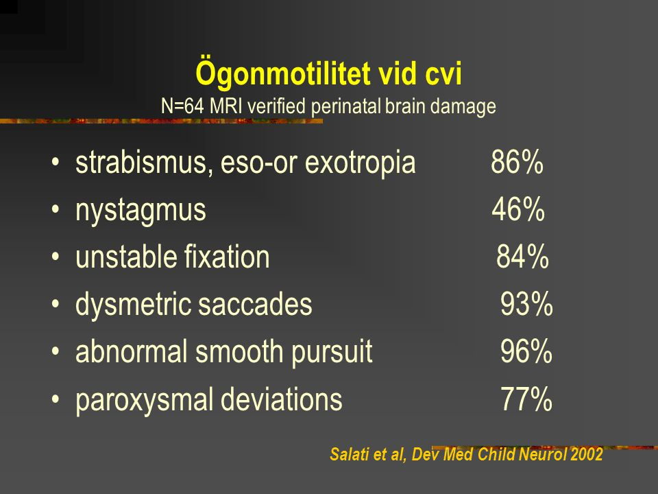 N=64 MRI verified perinatal brain damage