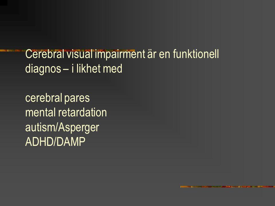 Cerebral visual impairment är en funktionell diagnos – i likhet med