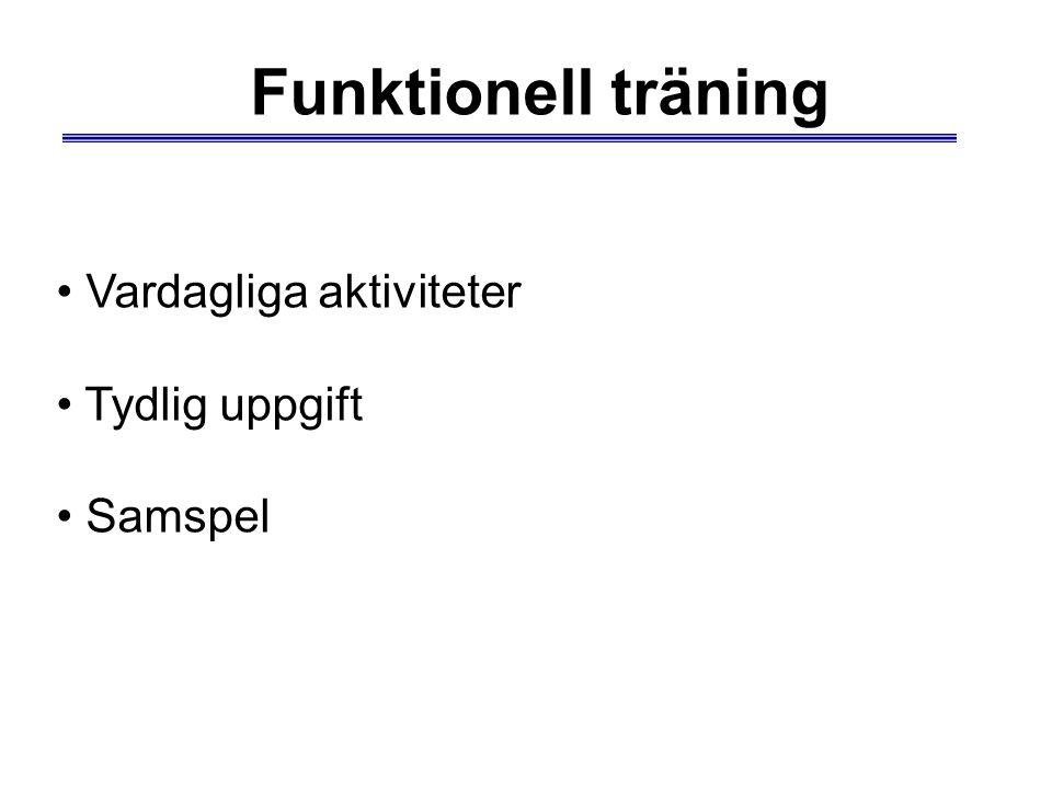 Funktionell träning Vardagliga aktiviteter Tydlig uppgift Samspel
