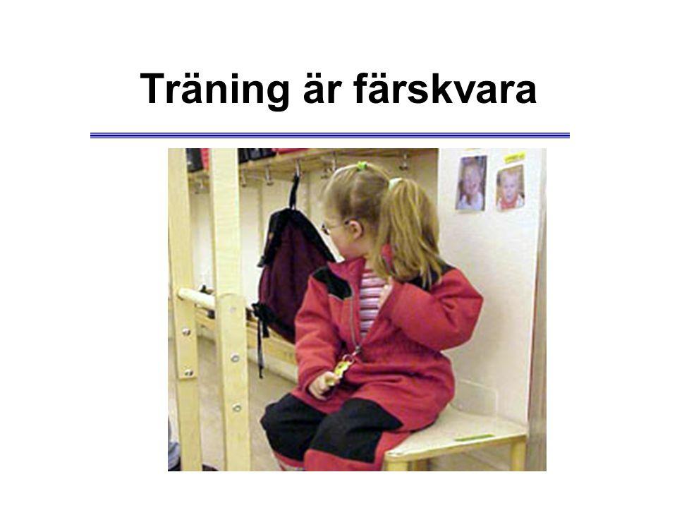 Träning är färskvara För att det som barnet tränar ska resultera i inlärning som består måste barnet använda sin nya kunskap.