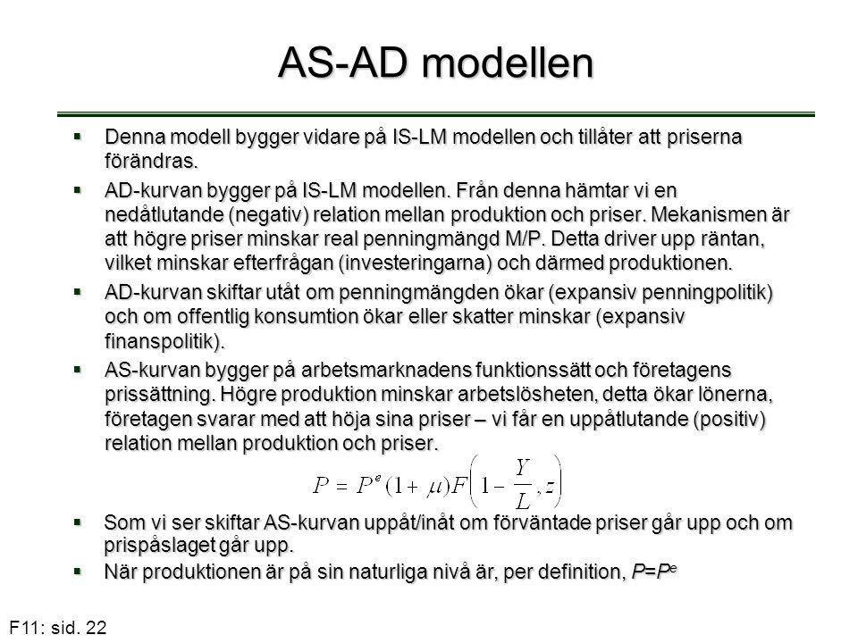 AS-AD modellen Denna modell bygger vidare på IS-LM modellen och tillåter att priserna förändras.