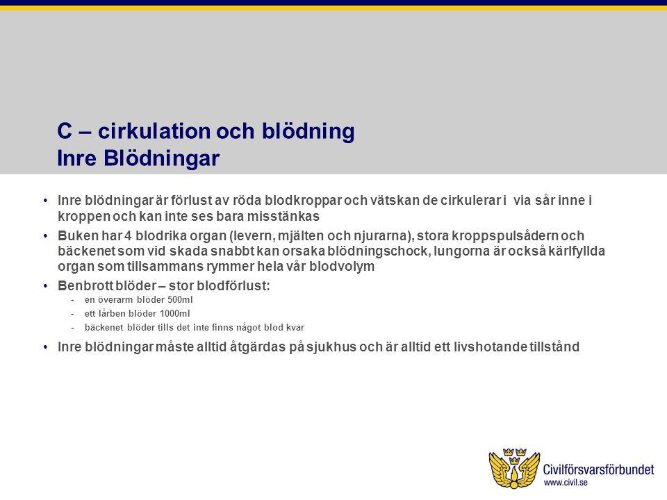 C – cirkulation och blödning Inre Blödningar