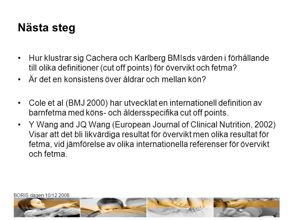 Nästa steg Hur klustrar sig Cachera och Karlberg BMIsds värden i förhållande till olika definitioner (cut off points) för övervikt och fetma