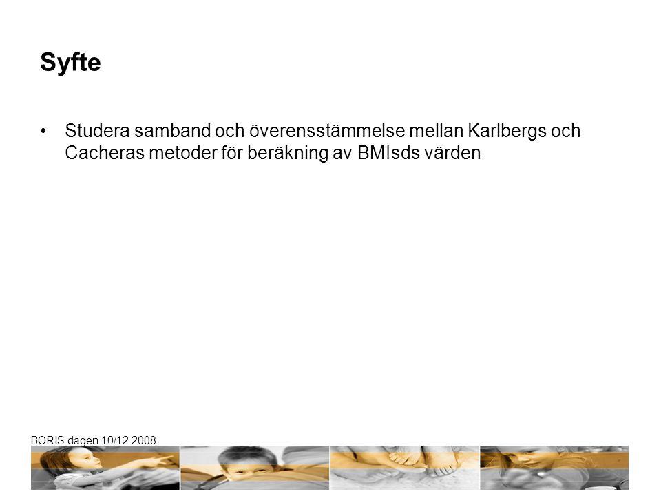 Syfte Studera samband och överensstämmelse mellan Karlbergs och Cacheras metoder för beräkning av BMIsds värden.